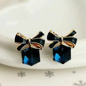 Delicate Dreamy Blue And Rose Gold Crystal Studs 1 Pair Earrings-min
