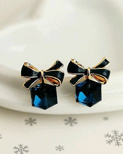 Delicate Dreamy Blue And Rose Gold Crystal Studs 1 Pair Earrings