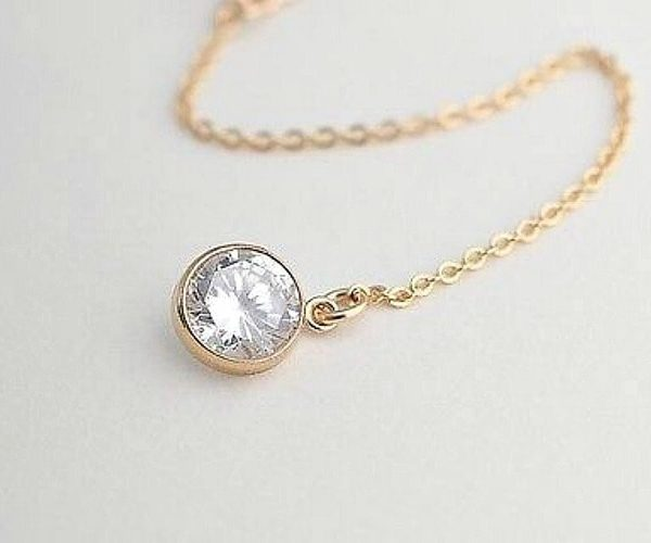 Exquisite Yellow Gold Plated Necklace With Vibrant AAA Cubic Zirconia Crystals