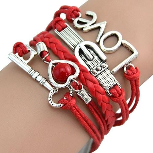 Graceful Braided Key Love Heart PU Leather Bracelet