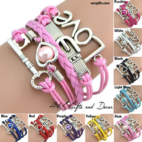 Graceful Braided Key Love Heart PU Leather Bracelet