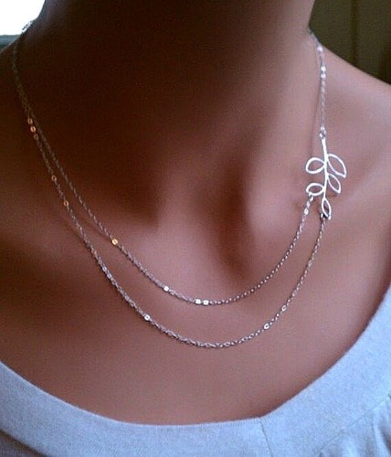 Handsome Silver Glossy Necklace Intriguing Double Chain Design