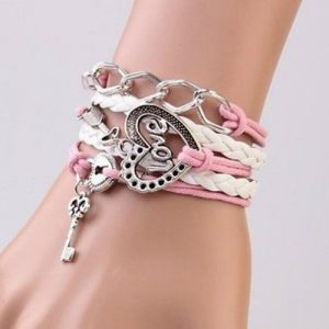Precious Love Heart Lock and Key Friendship Hand Made Bracelet