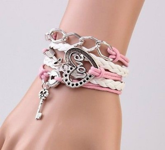 Precious Love Heart Lock and Key Friendship Hand Made Bracelet-min
