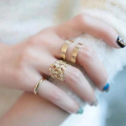 Yellow Gold Filled Knuckle Adjustable Ring 3 Pieces Set