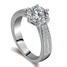 Lustrous 925 Sterling Silver Engagement Ring-12346